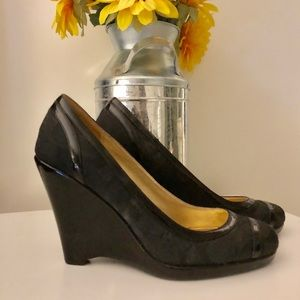 Coach Print & Patent Leather Wedge Heels - Size 7